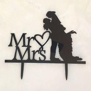 New Black plastic Mr & Mrs cake topper